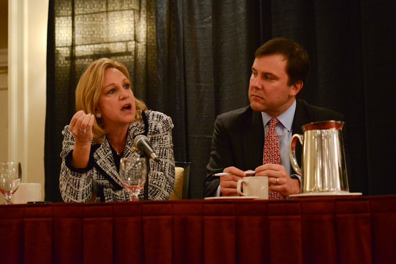 New Jersey Assemblywoman Valerie Vainieri Huttle (D 37) and Senate Republican Leader Thomas H. Kean, Jr. (R-21) at the Center's 2012 annual conference