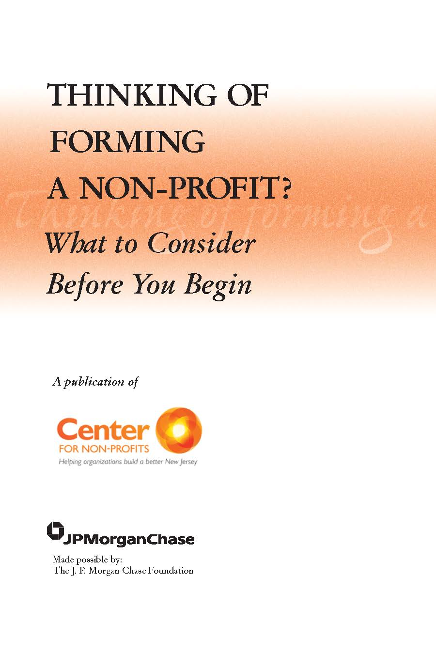 Center For Nonprofits Forming A Non Profit